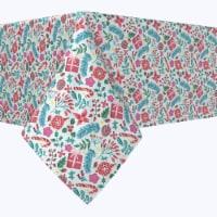 "Rectangular Tablecloth, 100% Polyester, 60x84"", Christmas Candy Cane Celebration"