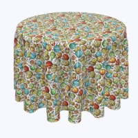 "Round Tablecloth, 100% Polyester, 96"" Round, Christmas Cartoon Celebration"