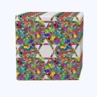 """Napkin Set, 100% Polyester, Set of 12, 18x18"""", Colorful Hexagonal Icon"""