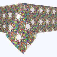 """Rectangular Tablecloth, 100% Polyester, 60x84"""", Colorful Hexagonal Icon - 1 Product"""