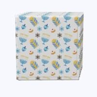 "Napkin Set, 100% Polyester, Set of 12, 18x18"", Cute Menorahs and Stars"