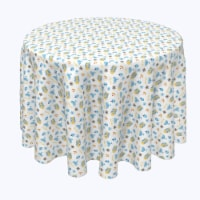 "Round Tablecloth, 100% Polyester, 60"" Round, Cute Menorahs and Stars"