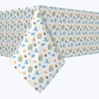 "Rectangular Tablecloth, 100% Polyester, 60x84"", Cute Menorahs and Stars"