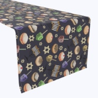 "Table Runner, 100% Polyester, 12x72"", Dreidel Delightfulness"