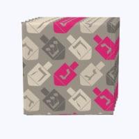 "Napkin Set, 100% Polyester, Set of 12, 18x18"", Dreidel Wrapping Wallpaper"