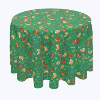 """Round Tablecloth, 100% Polyester, 60"""" Round, Dreidels, Donuts and Decorations"""
