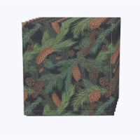 "Napkin Set, 100% Polyester, Set of 12, 18x18"", Fir Branches and Green Pines"