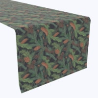 """Table Runner, 100% Polyester, 14x108"""", Fir Branches and Green Pines"""