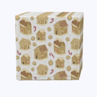 "Napkin Set, 100% Polyester, Set of 12, 18x18"", Gingerbread Cookie Houses"