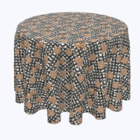 """Round Tablecloth, 100% Polyester, 70"""" Round, Gingerbread Plaid"""
