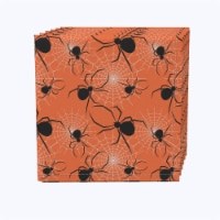 "Napkin Set, 100% Polyester, Set of 12, 18x18"", Halloween Spiders Web"