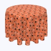 """Round Tablecloth, 100% Polyester, 84"""" Round, Halloween Spiders Web"""