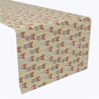 """Table Runner, 100% Polyester, 12x72"""", Pine Cones with Bows"""