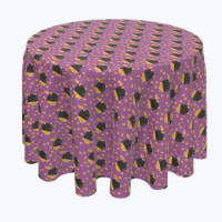 """Round Tablecloth, 100% Polyester, 96"""" Round, Pot of Candy Corn"""