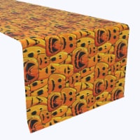 "Table Runner, 100% Polyester, 12x72"", Pumpkin Ghost Faces"