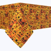 "Rectangular Tablecloth, 100% Polyester, 60x120"", Pumpkin Ghost Faces"