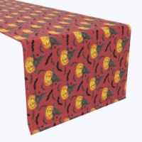 "Table Runner, 100% Polyester, 12x72"", Pumpkin in Hats and Bats"