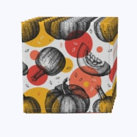 "Napkin Set, 100% Polyester, Set of 12, 18x18"", Pumpkins and Autumn Dots"