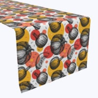 "Table Runner, 100% Polyester, 12x72"", Pumpkins and Autumn Dots"