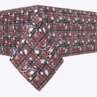 """Square Tablecloth, 100% Polyester, 84x84"""", Red Beautiful Berry Weave"""