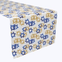 "Table Runner, 100% Polyester, 14x108"", Star of David Décor"