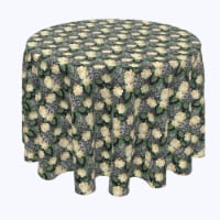 """Round Tablecloth, 100% Polyester, 84"""" Round, White Rose and Skull Faces - 1 Product"""