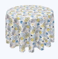 "Round Tablecloth, 100% Polyester, 60"" Round, Winter Swirls and Twirls"