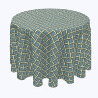 """Round Tablecloth, 100% Polyester, 114"""" Round, Bamboo Cane Lattice"""