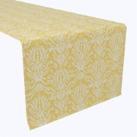 """Table Runner, 100% Polyester, 14x108"""", Yellow Keyhole Damask"""