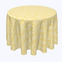"""Round Tablecloth, 100% Polyester, 102"""" Round, Yellow Keyhole Damask"""