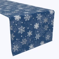 "Table Runner, 100% Polyester, 12x72"", Winter Blue Snowflakes"