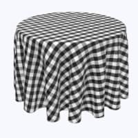 """Round Tablecloth, 100% Polyester, 114"""" Round, Picnic Check, Black"""