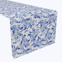 "Table Runner, 100% Polyester, 12x72"", Blue Traditional Leaves"