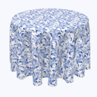 """Round Tablecloth, 100% Polyester, 108"""" Round, Blue Traditional Leaves"""