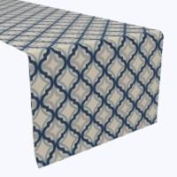 """Table Runner, 100% Polyester, 12x72"""", Blue Diamond Ogee"""