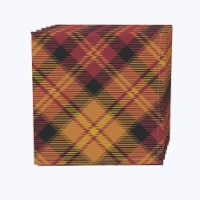 "Napkin Set, 100% Polyester, Set of 12, 18x18"", Plaid, Fall Harvest"