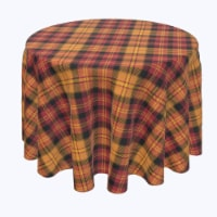 "Round Tablecloth, 100% Polyester, 60"" Round, Plaid, Fall Harvest"
