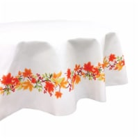 """Round Tablecloth, 100% Polyester, 60"""" Round, Autumn Leaves Border - 1 Product"""
