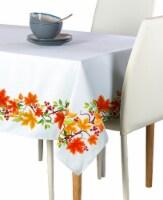 "Rectangular Tablecloth, 100% Polyester, 60x84"", Autumn Leaves Border"
