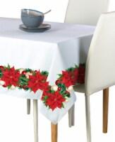 "Rectangular Tablecloth, 100% Polyester, 60x120"", Christmas Poinsettia Garland"