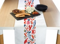 """Table Runner, 100% Polyester, 14x108"""", Fresh Seafood Garland"""