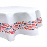 """Round Tablecloth, 100% Polyester, 70"""" Round, Fresh Seafood Garland"""
