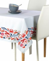 """Square Tablecloth, 100% Polyester, 70x70"""", Fresh Seafood Garland"""