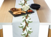 "Table Runner, 100% Polyester, 12x72"", Pinecone Snow Garland"