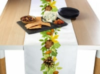 """Table Runner, 100% Polyester, 14x108"""", Pinecones Leaves Garland"""