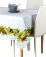 "Rectangular Tablecloth, 100% Polyester, 60x120"", Pinecones Leaves Garland"