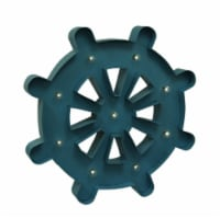 Blue Light Up 24 Inch Nautical Ship Wheel Wall Hanging with Remote - Small