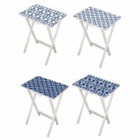 Evergreen Garden Mod Blue and White TV Trays with White Stand