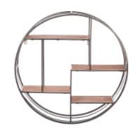 Evergreen Garden Round Metal Wall Display with Wood Shelves