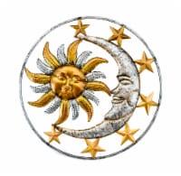Celestial Sun Moon and Stars Indoor Outdoor 17 inch Metal Wall Hanging Sculpture - Mini